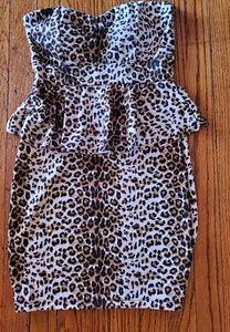 Leopard print tube top fitted dress